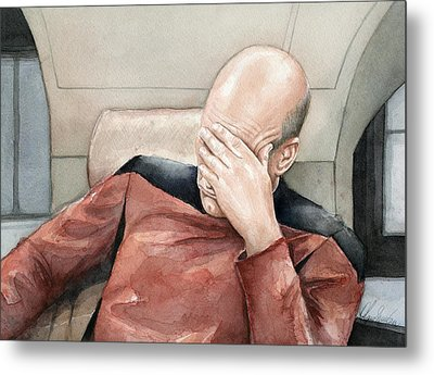 Picard Facepalm Meme Watercolor Metal Print by Olga Shvartsur