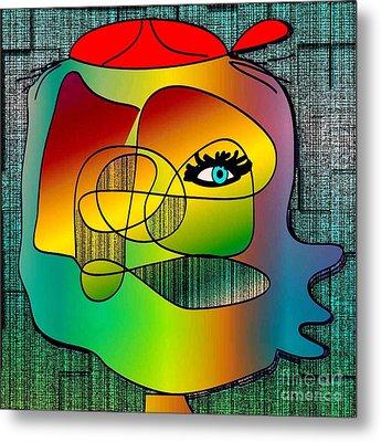Picasso Inspired Cartoon Metal Print by Iris Gelbart