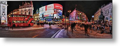 Piccadilly Circus At Night, London Metal Print