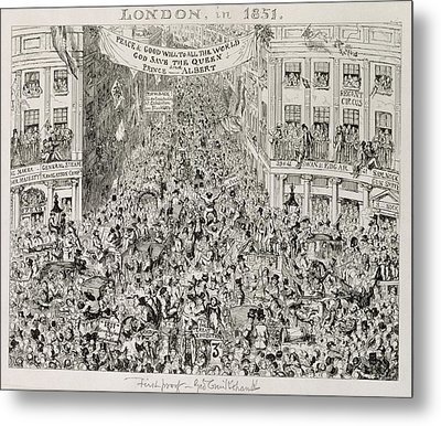 Piccadilly During The Great Exhibition Metal Print by George Cruikshank