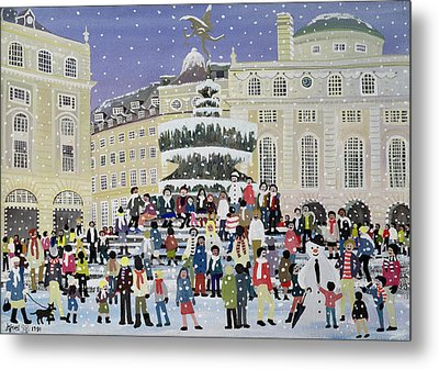 Piccadilly Snow Scene Metal Print by Judy Joel