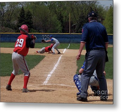 Pick Off Attempt At 1st Base Metal Print by Thomas Woolworth