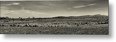 Picketts Charge From Seminary Ridge In Black And White Metal Print by Joshua House