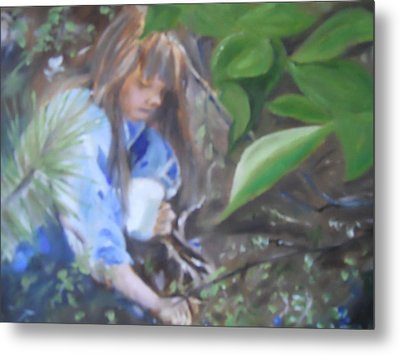 Picking Blueberries Metal Print by Joyce Reid