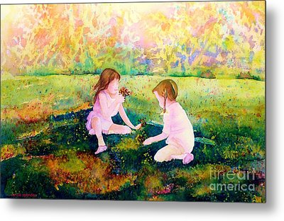 Picking Flowers In The Park Paintings Of Montreal Park Scenes Children Playing Carole Spandau Metal Print by Carole Spandau