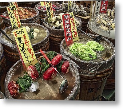 Pickled Vegetables Street Vendor - Kyoto Japan Metal Print by Daniel Hagerman