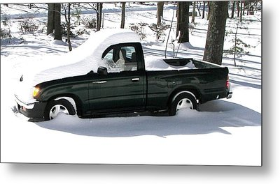 Metal Print featuring the photograph Pickup In The Snow by Pamela Hyde Wilson