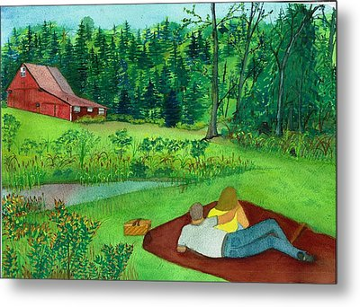 Picnic On The Farm Metal Print