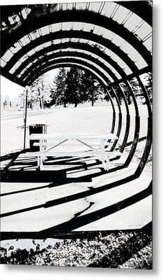 Picnic Table And Gazebo Metal Print