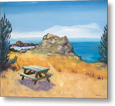 Picnic Table And Ocean With Yellow Field Metal Print by Asha Carolyn Young