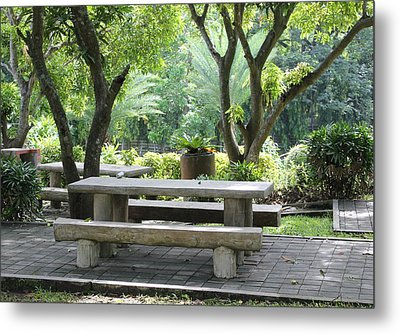 Picnic Table Metal Print by Cyril Maza