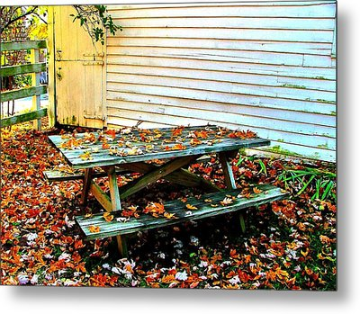 Picnic Table In Autumn Metal Print by Julie Dant