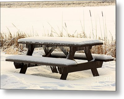 Picnic Table In Winter Metal Print by Louise Heusinkveld