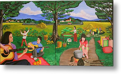 Metal Print featuring the painting Picnic With The Farmers And Playing Melodies Under The Shade Of Trees by Lorna Maza