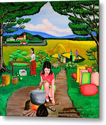 Metal Print featuring the painting Picnic With The Farmers by Lorna Maza