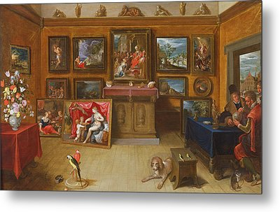 Picture Gallery With A Man Of Science Making Measurements On A Globe, 1612 Oil On Panel Metal Print