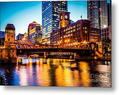 Picture Of Chicago At Night With Clark Street Bridge Metal Print