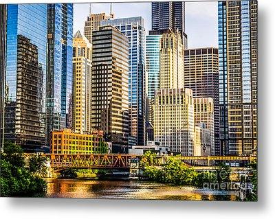 Picture Of Chicago Buildings At Lake Street Bridge Metal Print