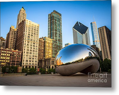 Picture Of Cloud Gate Bean And Chicago Skyline Metal Print