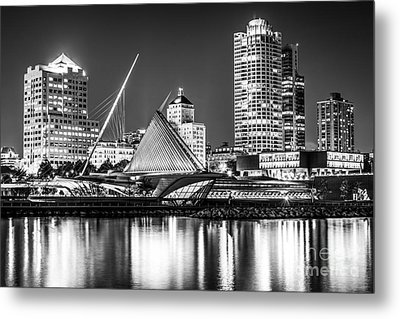 Picture Of Milwaukee Skyline At Night In Black And White Metal Print