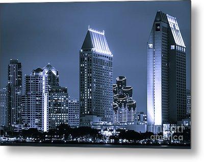 Picture Of San Diego Night Skyline Metal Print by Paul Velgos