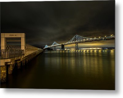 Pier 14 And Bay Bridge At Night Metal Print by John Daly