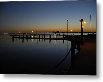 Metal Print featuring the photograph Pier At Chandlers Landing Rockwall Tx by Charles Beeler