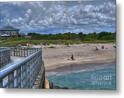 Pier At Sebastian Inlet Metal Print by Timothy Lowry
