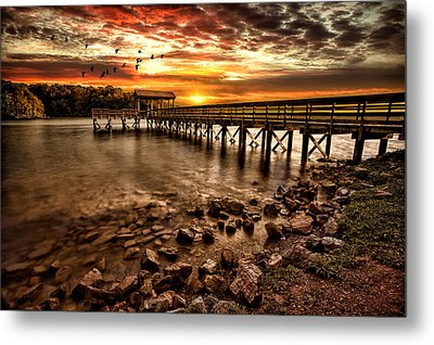 Metal Print featuring the photograph Pier At Smith Mountain Lake by Joshua Minso