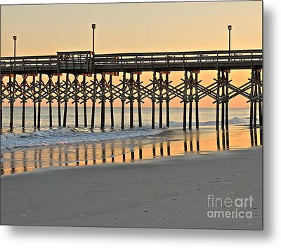Pier At Sunset Metal Print by Eve Spring