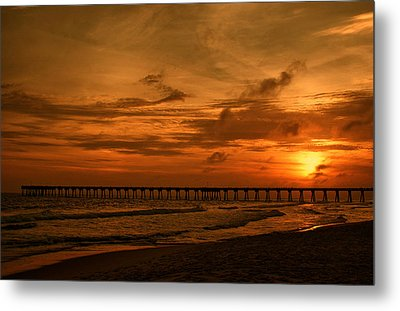 Pier At Sunset Metal Print by Sandy Keeton