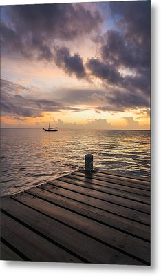 Pier At Sunset Vertical  Metal Print