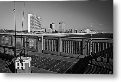 Pier Fishing Metal Print