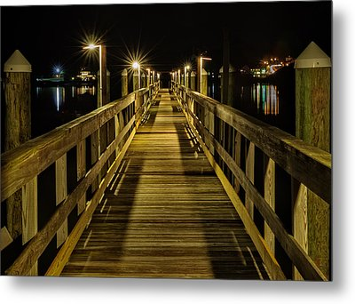 Pier Into The Night Metal Print