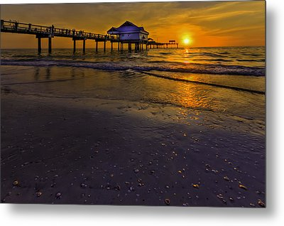 Pier Into The Sun Metal Print