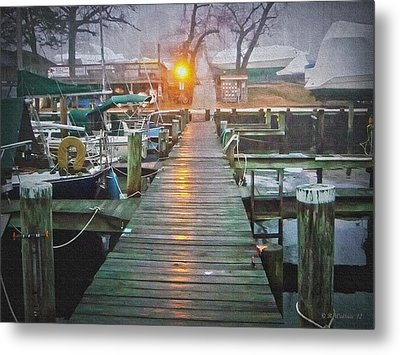 Pier Light - Oil Paint Effect Metal Print by Brian Wallace