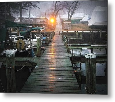 Pier Light - Watercolor Effect Metal Print by Brian Wallace