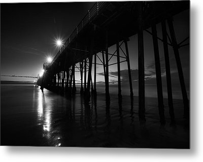 Pier Lights - Black And White Metal Print by Peter Tellone