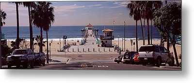 Pier Over An Ocean, Manhattan Beach Metal Print