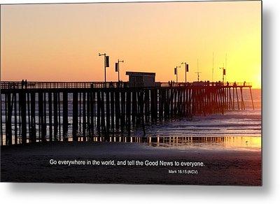 Pier Sunset W/scripture Metal Print
