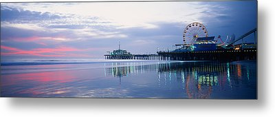 Pier With A Ferris Wheel, Santa Monica Metal Print