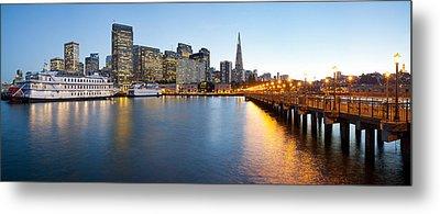 Pier With City At Sunset, Bay Bridge Metal Print