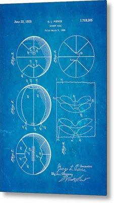 Pierce Basketball Patent Art 1929 Blueprint Metal Print
