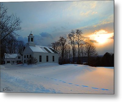 Piermont Church In Winter Light Metal Print by Nancy Griswold