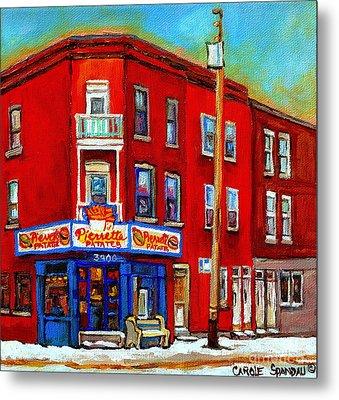 Pierrette Patates 3900 Verdun Restaurant Montreal Streets And Shops City Of Verdun Art Work Scenes Metal Print by Carole Spandau