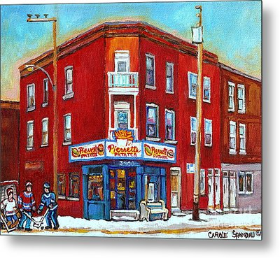 Pierrette Patates Restaurant - Paintings Of Verdun - Verdun Winter Scenes -verdun Hockey Scenes Metal Print by Carole Spandau