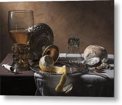 Metal Print featuring the photograph Pieter Claesz- Breakfast Piece by Levin Rodriguez