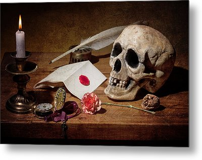 Metal Print featuring the photograph Vanitas With Skull-writting Utensils-watch And Anemone by Levin Rodriguez