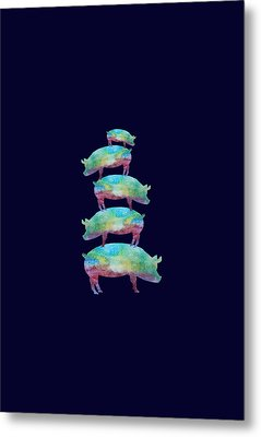 Pig Stack Metal Print by Jenny Armitage