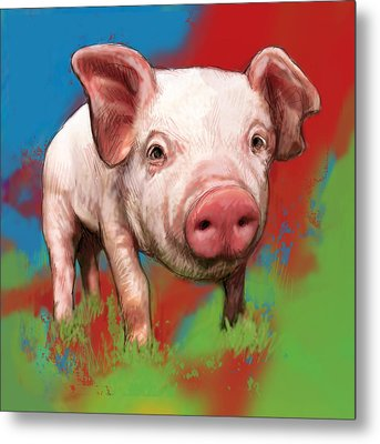 Pig Stylised Pop Modern Art Drawing Sketch Portrait Metal Print